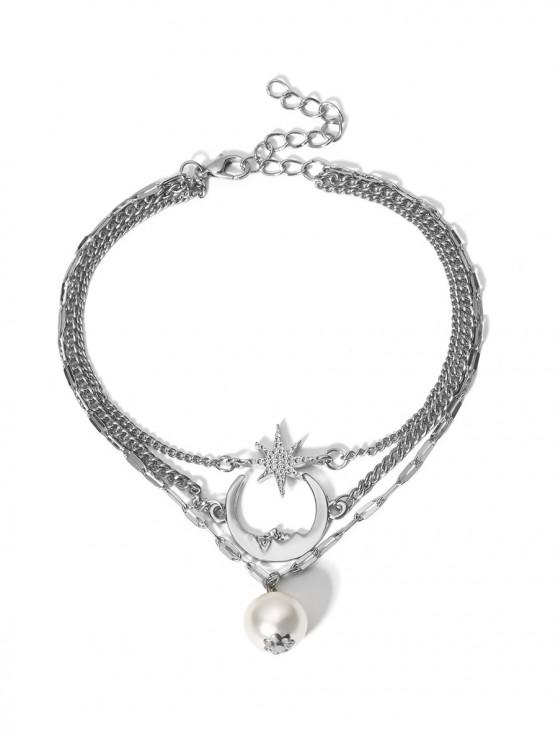 buy Moon Star Faux Pearl Multilayered Anklet - SILVER