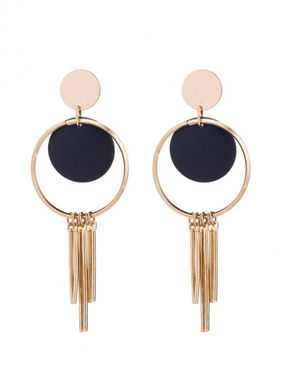 women's Simple Wooden Disc Tassel Earrings - DARK SLATE BLUE