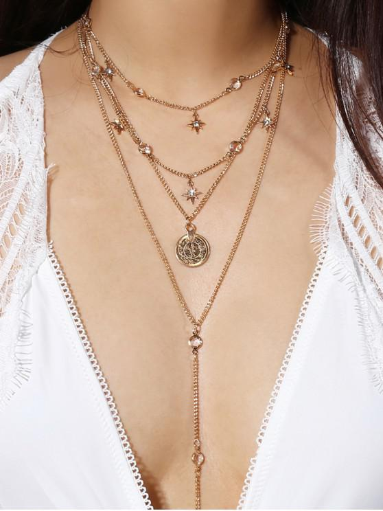 lady Ethnic Faux Crystal Multilayered Chain Necklace - GOLD