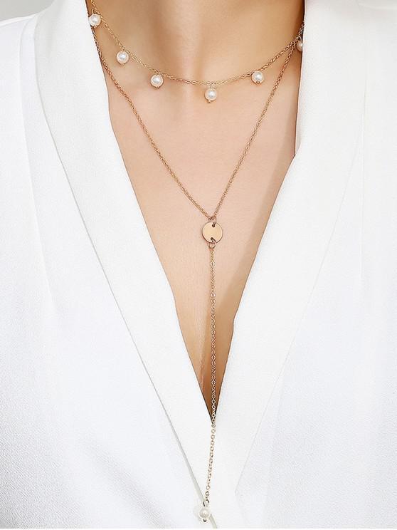 Collar de perlas falsas colgante de disco de múltiples capas - Oro