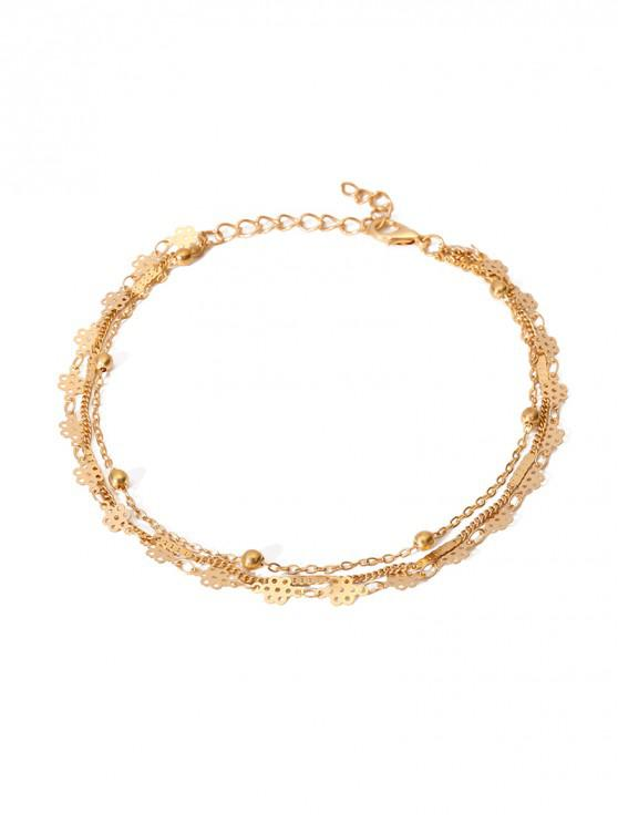 new Simple Multilayered Geometric Beach Anklet - GOLD