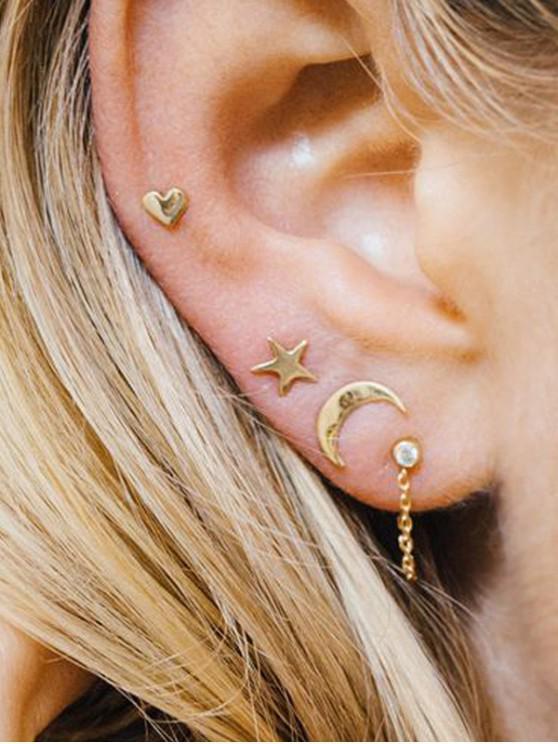 Conjunto de Aretes de Estrella de Luna - Oro