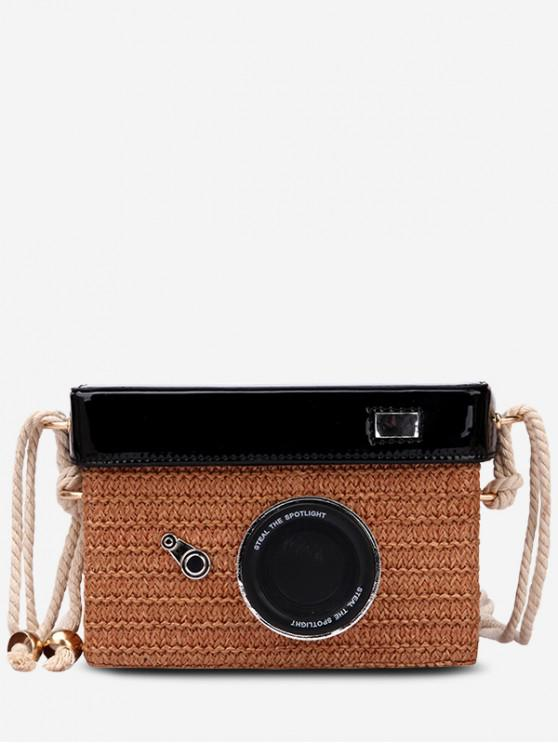 latest Personality Straw Camera Crossbody Bag - BROWN