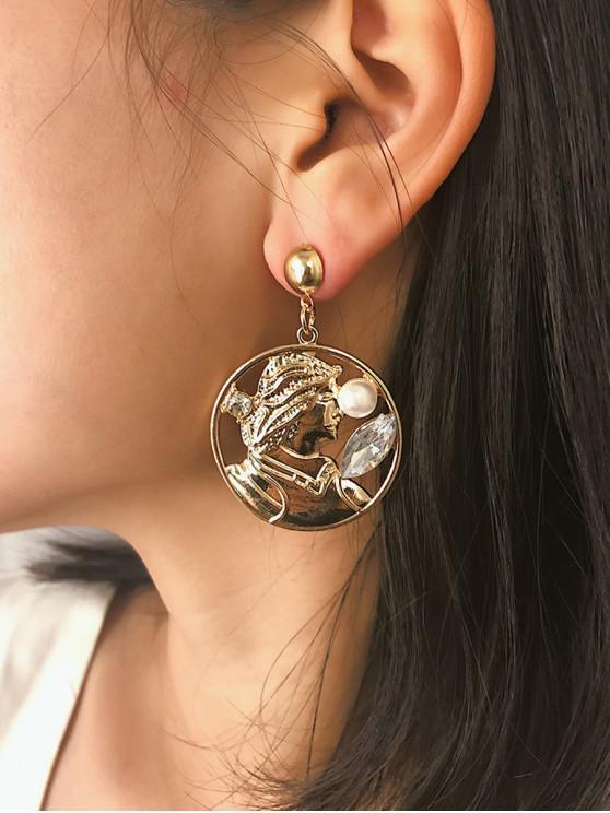 Retrato creativo de perlas de imitación pendientes - Oro