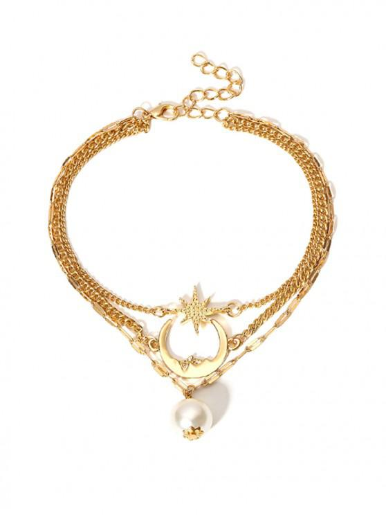 buy Moon Star Faux Pearl Multilayered Anklet - GOLD