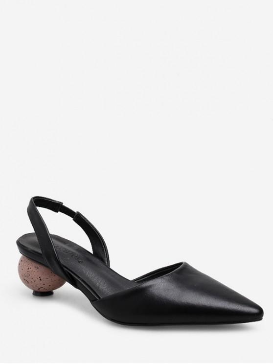 unique Pointed Toe Strange Heel Slingback Sandals - BLACK EU 37