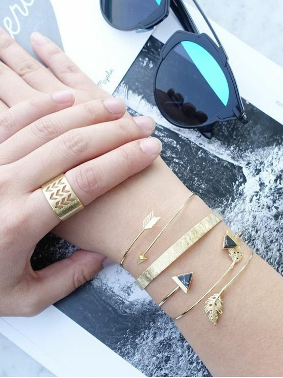lady Leaves Arrow Cuff Bracelet Ring Set - GOLD