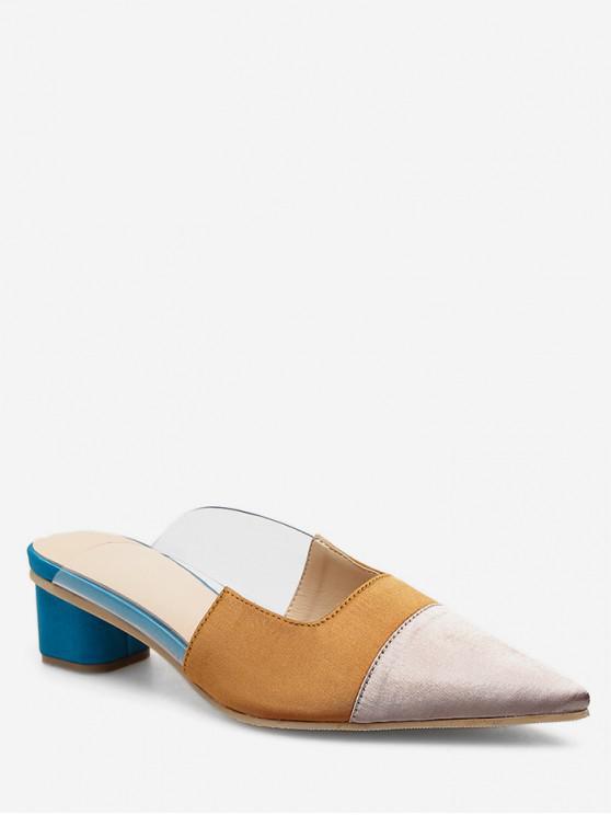 chic Pointed Toe Color Block Half Slides - APRICOT EU 35