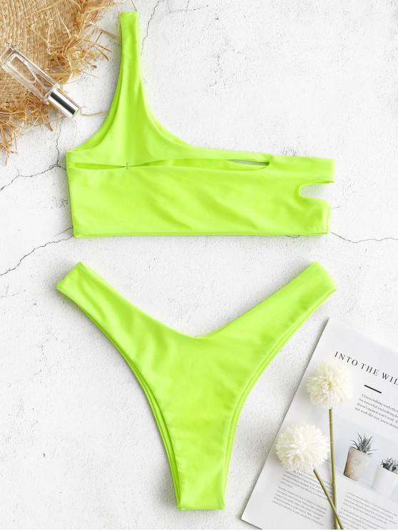 trendy ZAFUL One Shoulder Cut Out Bralette Bikini Set - GREEN YELLOW S