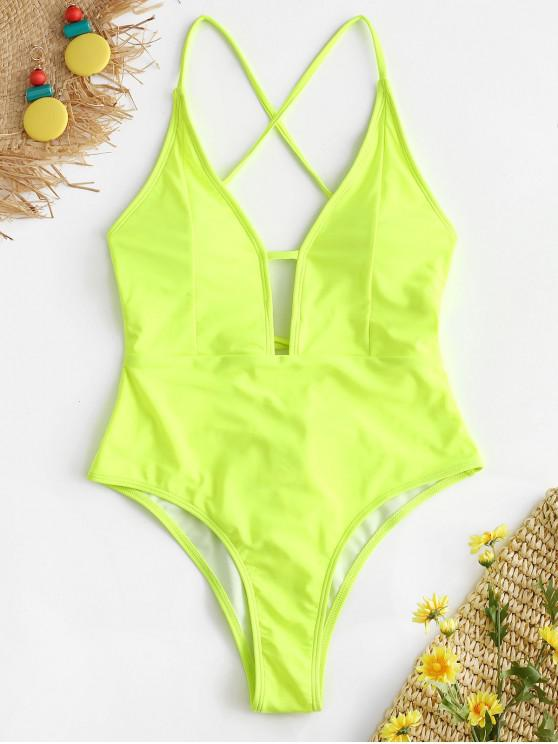 ZAFUL Lace-up Criss Cross Swimsuit - Verde Amarelo L