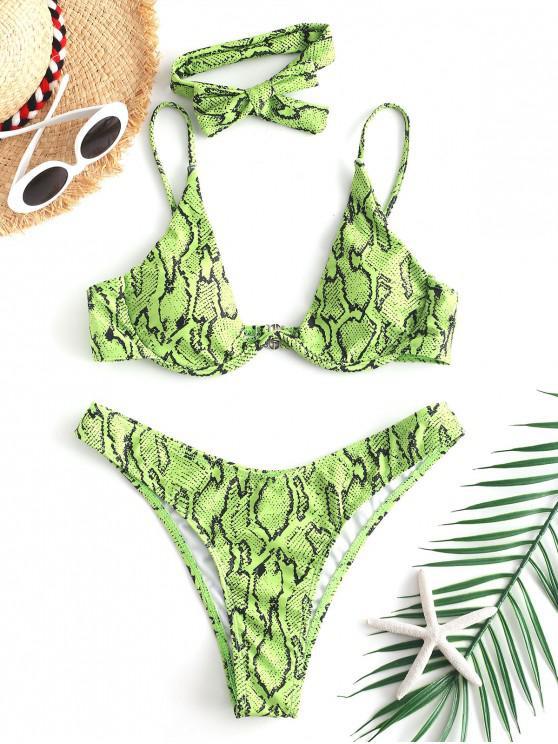 outfits ZAFUL Snake Print High Cut Bikini Set - EMERALD GREEN L