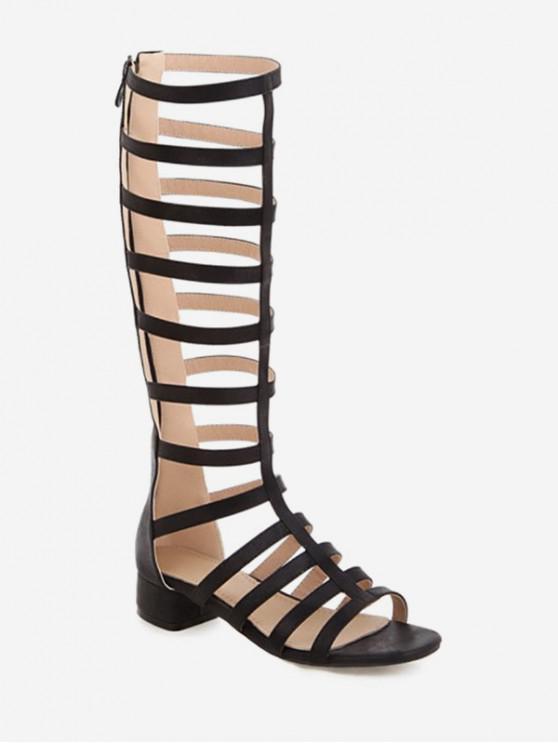 womens Chunky Heel High-top Design Boots - BLACK EU 40