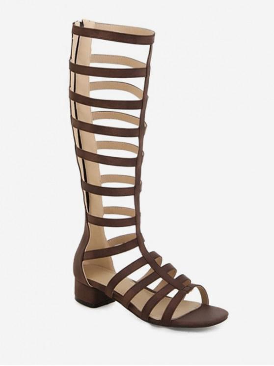 shop Chunky Heel High-top Design Boots - BROWN EU 37