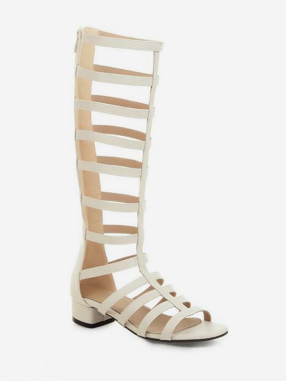 fancy Chunky Heel High-top Design Boots - WHITE EU 36