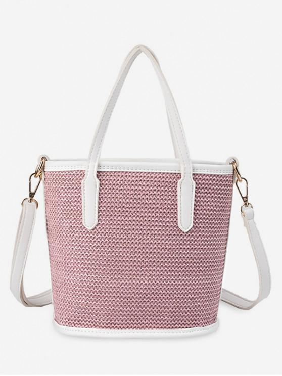 buy Large Capacity Woven Shoulder Bag - PINK