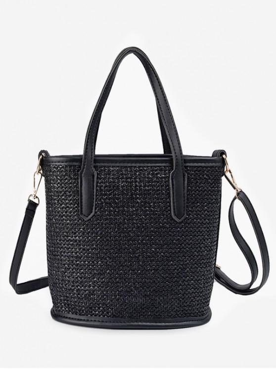 sale Large Capacity Woven Shoulder Bag - BLACK