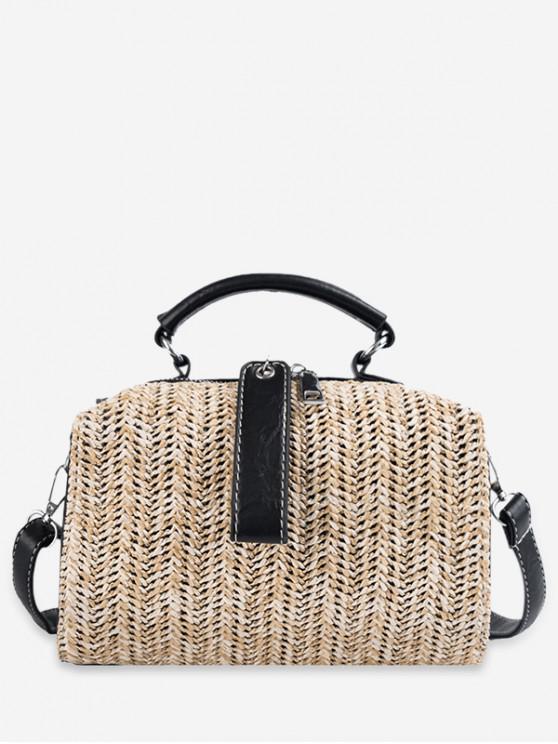 buy Straw Woven Design Tote Bag - KHAKI