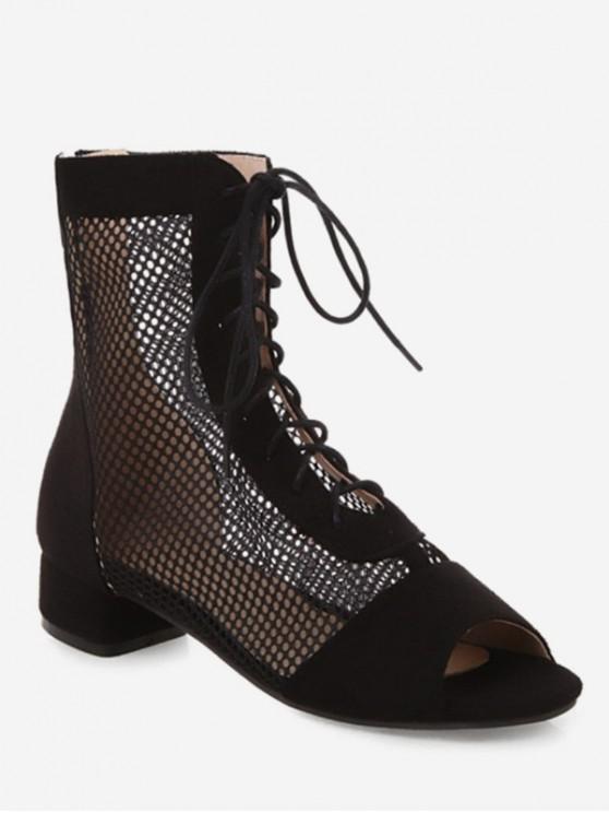 women Chunky Heel Lace-up Design Boots - BLACK EU 35