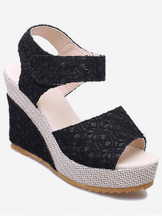 ladies Chic Lace Design Wedge Heel Sandals - BLACK EU 35