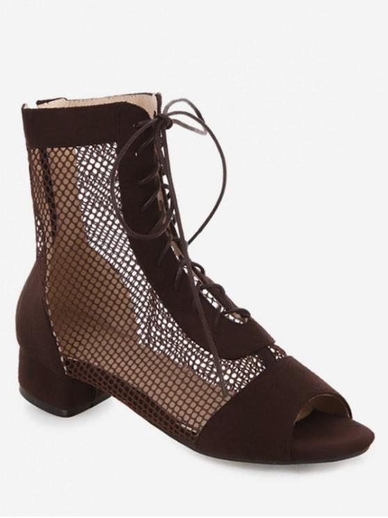 trendy Chunky Heel Lace-up Design Boots - BROWN EU 34