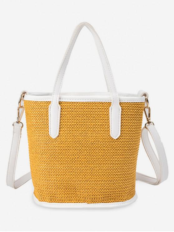 women Large Capacity Woven Shoulder Bag - YELLOW