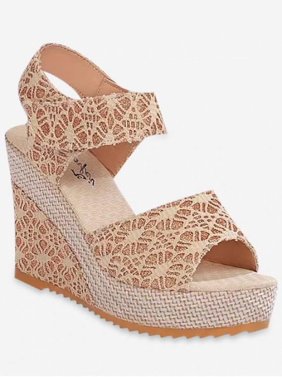 lady Chic Lace Design Wedge Heel Sandals - BEIGE EU 36