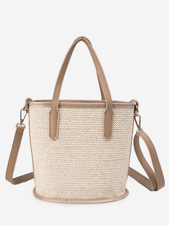 shops Large Capacity Woven Shoulder Bag - BEIGE