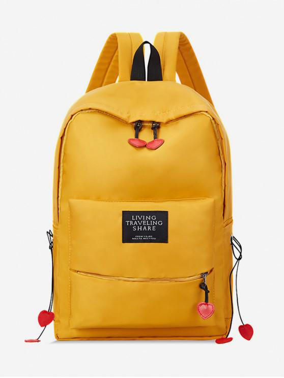 latest Chic Letter Pattern Backpack - YELLOW