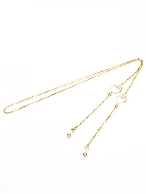 women Faux Pearl Sunglasses Chain - PALE BLUE LILY