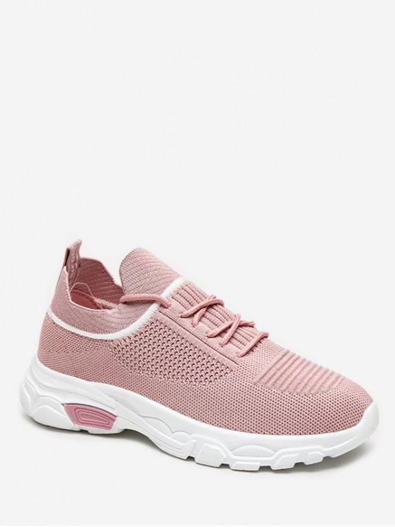 women's Leisure Lace-up Design Sport Sneakers - PINK EU 38