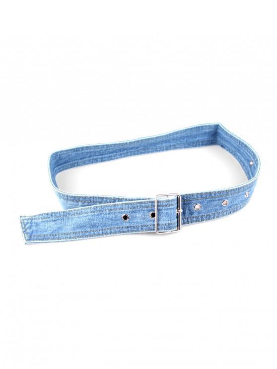 womens Casual Pin Buckle Denim Belt - LIGHT BLUE