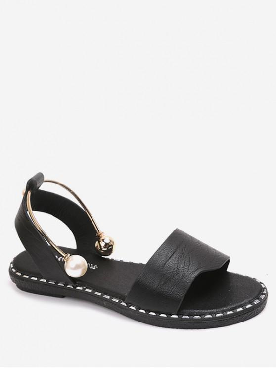 online Faux Pearl Decoration Leisure Sandals - BLACK EU 39
