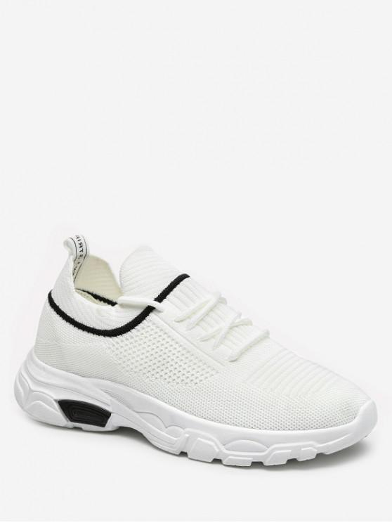 trendy Leisure Lace-up Design Sport Sneakers - WHITE EU 37
