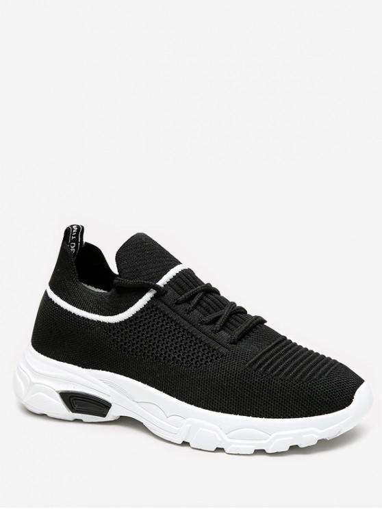 fashion Leisure Lace-up Design Sport Sneakers - BLACK EU 36