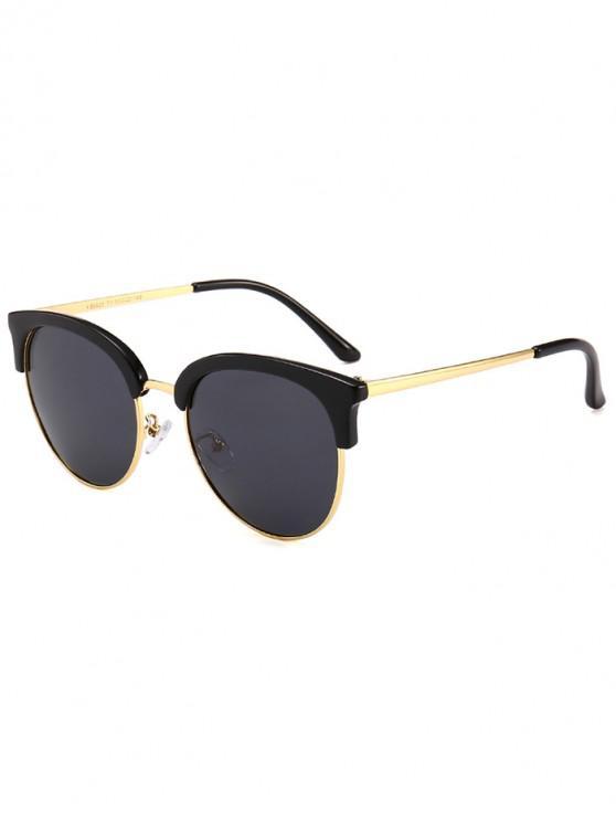 fancy Vintage Club Round Sunglasses - BLACK