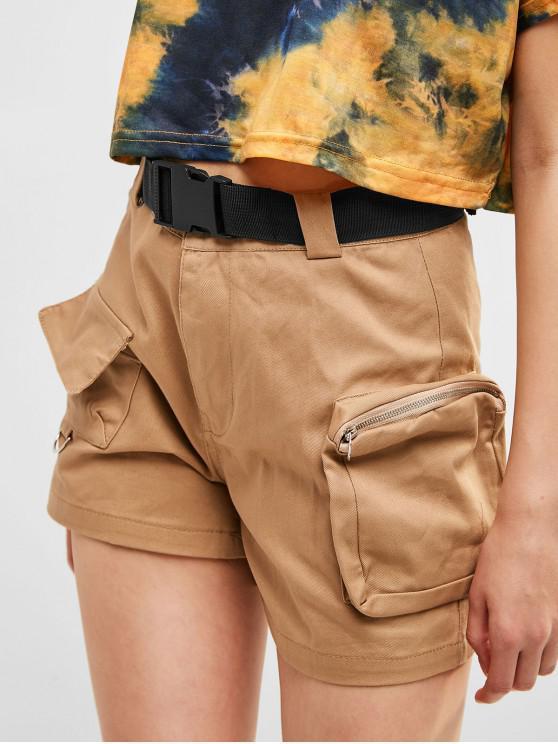 women's Solid Color Pockets Belted Shorts - LIGHT KHAKI M