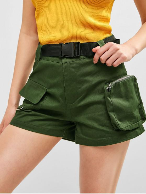 sale Solid Color Pockets Belted Shorts - MEDIUM FOREST GREEN M
