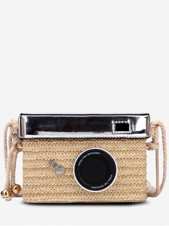 shops Personality Straw Camera Crossbody Bag - KHAKI