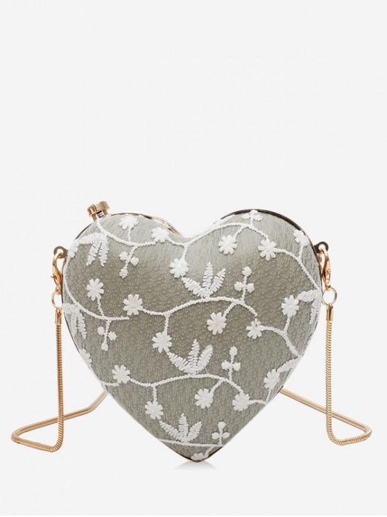 fashion Flower Pattern Chain Heart Crossbody Bag - DARK SEA GREEN