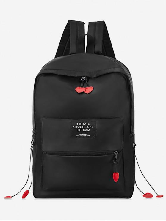 hot Chic Letter Pattern Backpack - BLACK