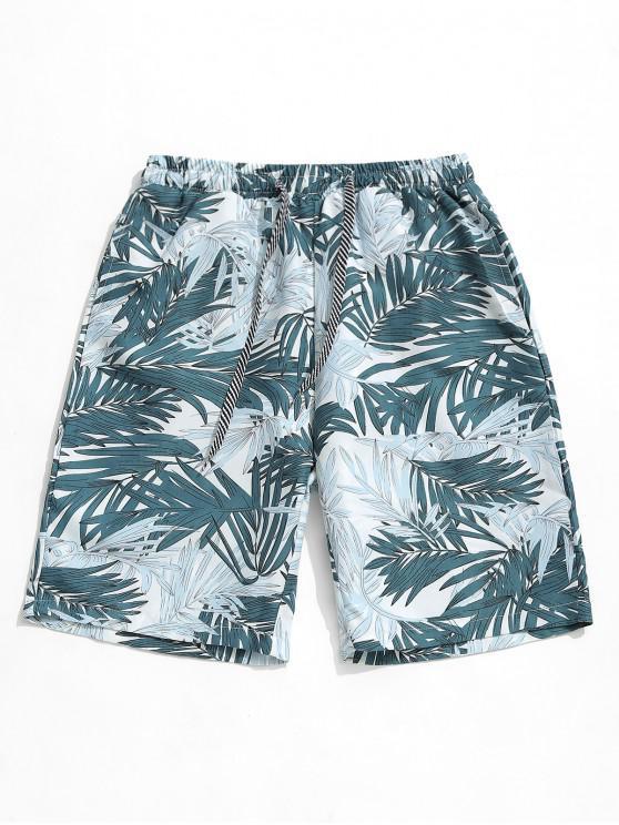 Shorts de playa casual con estampado de hojas - Multicolor S