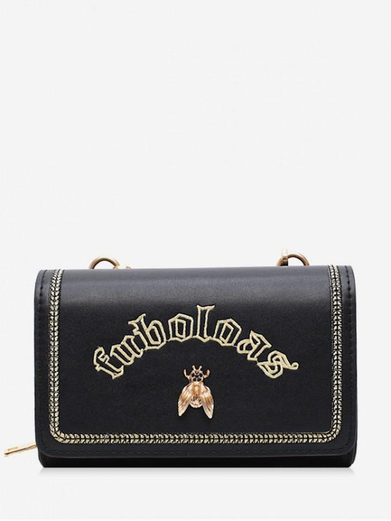 new Letter Embroidered Square Crossbody Bag - BLACK