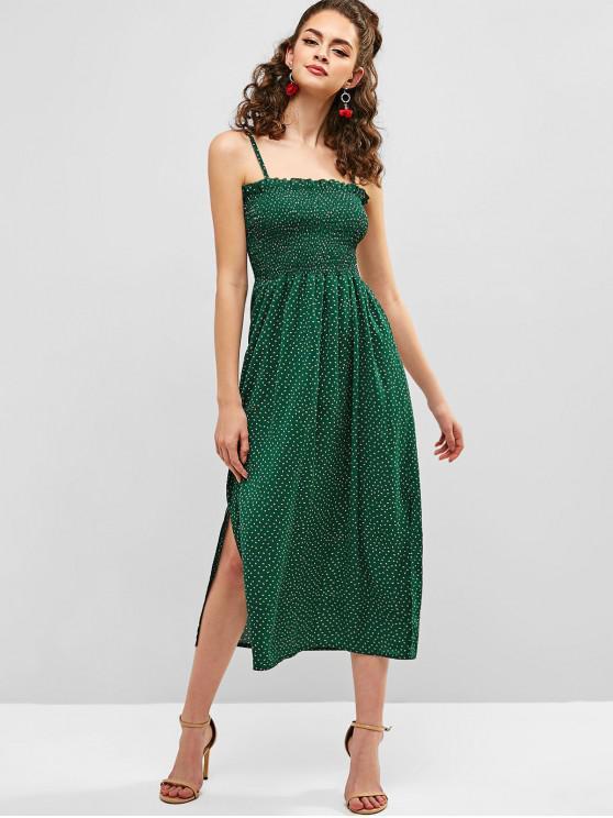 lady ZAFUL Shirred Polka Dot Cami Dress - SEA TURTLE GREEN S