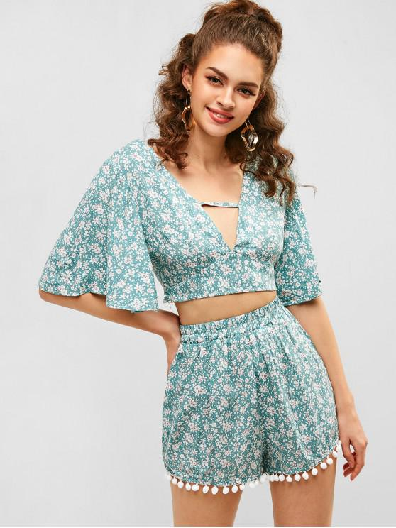 women ZAFUL Knotted Floral Top And Shorts Set - CYAN OPAQUE M