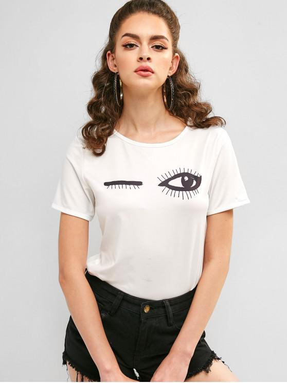 shops Eye Print Short Sleeve Bodysuit - WHITE M