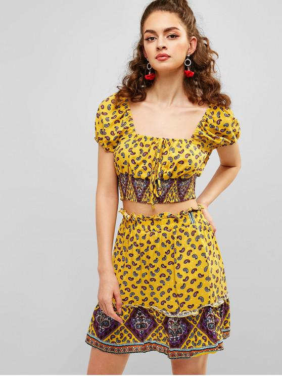 trendy ZAFUL Paisley Print Crop Top and Skirt Set - GOLDENROD L