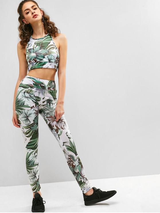 new Floral Print Crop Top and Pants Set - DARK SEA GREEN M