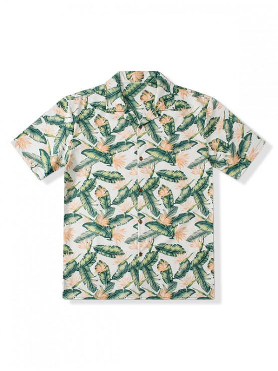 sale Floral Leaf Print Beach Shirt - MULTI M