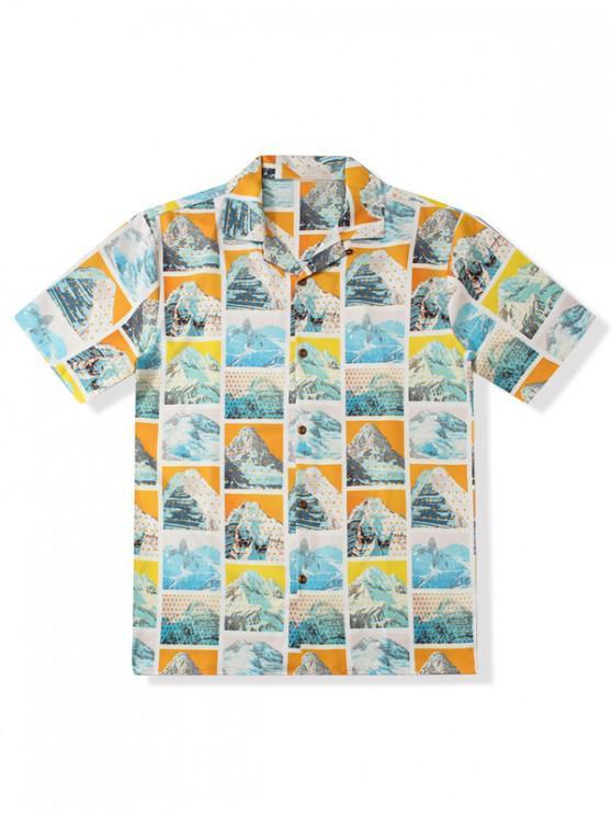 women Mountain Graphic Print Short Sleeves Shirt - MULTI M