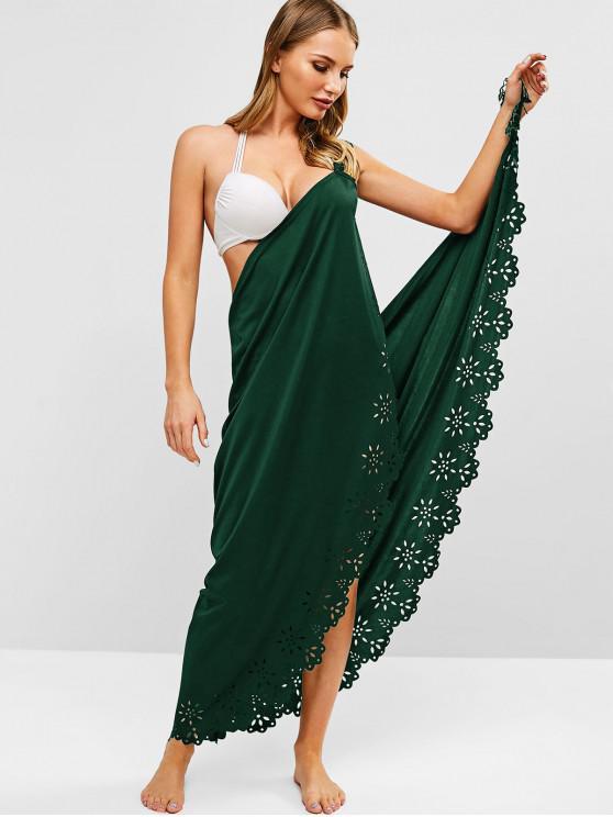 shops Laser Cut Fringed Wrap Dress - MEDIUM SEA GREEN ONE SIZE